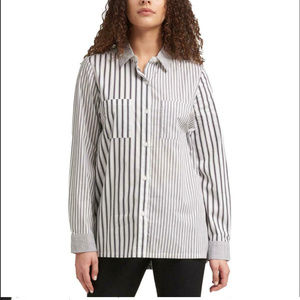 DKNY Women's Button-Down Shirt Top, Black/ White